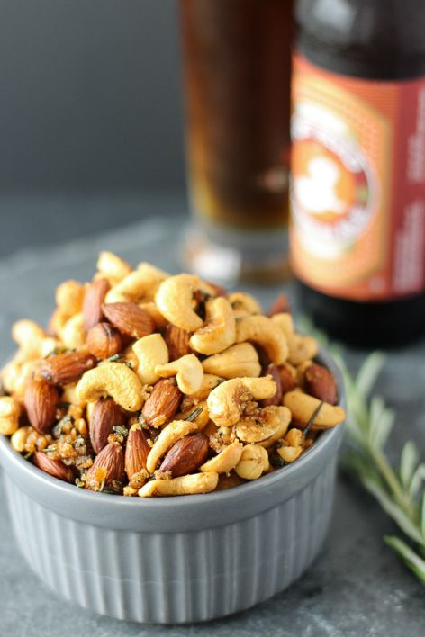 Roasted Rosemary and Cayenne Nuts are salty, spicy, crunchy, and pair perfectly with a cold beer for the football game!