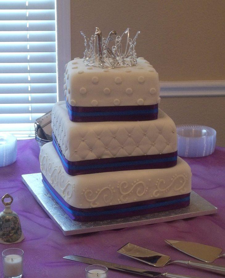 Royal Purple and Royal Blue Wedding Cake — Square Wedding Cakes