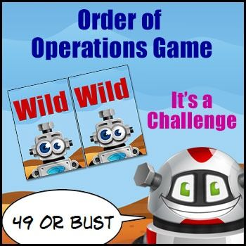 Order of Operations Game: '49 or Bust' is a game all about manipulating numbers and Math symbols to achieve a target number. Heaps of thinking in this one. Game in a Nutshell:Students are dealt a hand of numeral cards and then combine the numeral cards with the operation cards to create an algorithm that gets them as close as they can to 49.What you Need:2 or 3 players2 sets of numeral cards (1 to 9)2 wild cards 1 set of operations cards for each player 1 calculator for each player.How to…