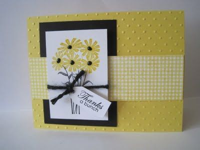 daisy: Stamps Cards, Yellow Flowers, Cards Ideas, Daffodils Daisies, Papercrafts Cards Scrap, Daisies Cards, Black Flowers, Black Burlap, Yellow Black