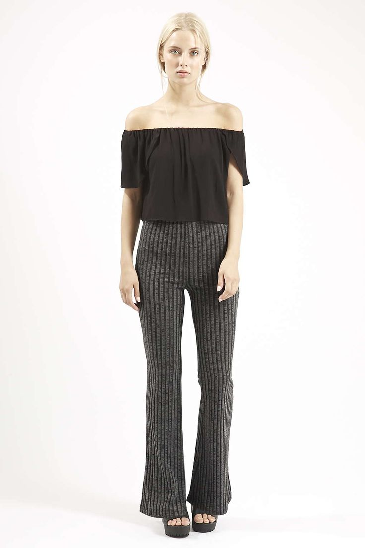 Photo 2 of PETITE Jersey Ribbed Flare Pants