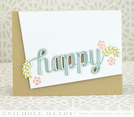 Happy Card by Nichole Heady for Papertrey Ink (March 2014)