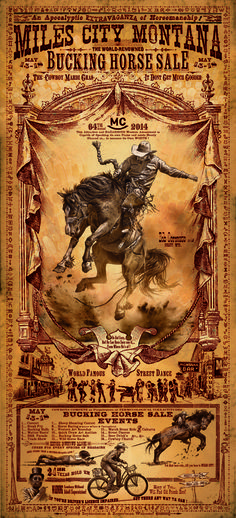 Miles City Montana Vintage looking Rodeo Poster with Bucking Horse. Bob Coronato - art Prints for Sale