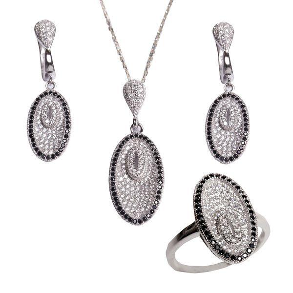 Zirkon taşlı gümüş bayan set