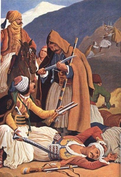 Πέτερ φον Ες (1792-1871)   Ο Καραισκάκης καταστρέφει τους Τούρκους στην Αράχωβα, Εγχρωμη λιθογραφία.