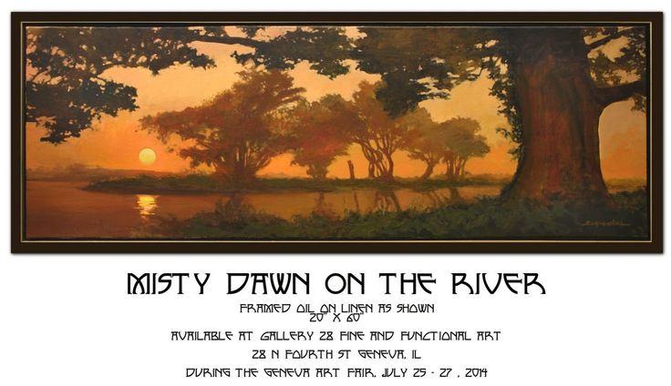 """Misty  Dawn on the River"" | Original oil on linen | 20""x 60"" | Jan Schmuckal | Arts and Crafts | Craftsman | Bungalow"