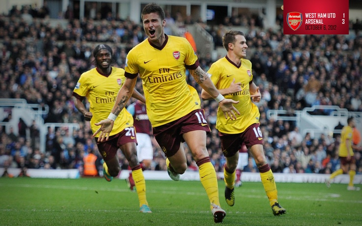West Ham 1-3 Arsenal. Olivier Giroud celebrates his first Premier League goal