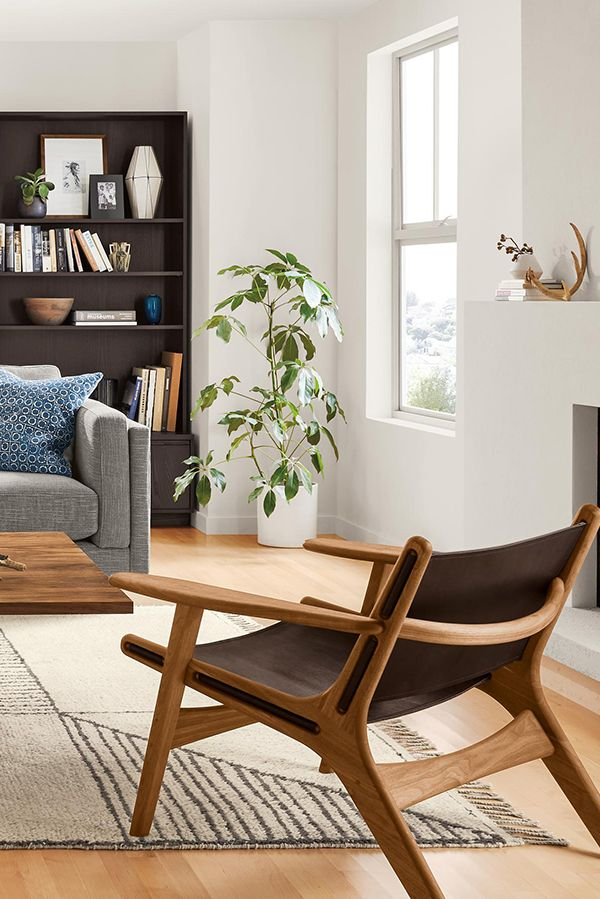 Moderne Lounge Stoel.Lars Leather Lounge Chair Accent Chairs Modern Living Room