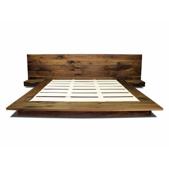 Walnut Floating Platform Bed Frame With Floating Nightstands Solid Walnut Bed Frame Simple Bed Frame Modern Floating Bed Frame Simple Bed Frame Bed Frame And Headboard Floating Bed Frame