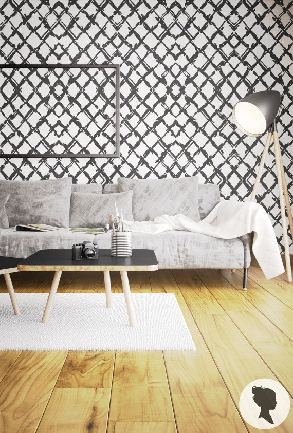 Check Pattern Wallpaper, coffe table, sofa and lamp makes this living room interior trendy.