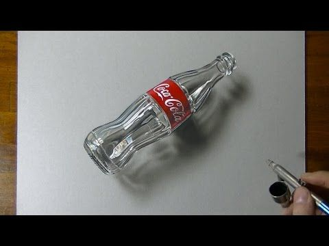 3D Art, Drawing Coca-Cola empty glass bottle - YouTube