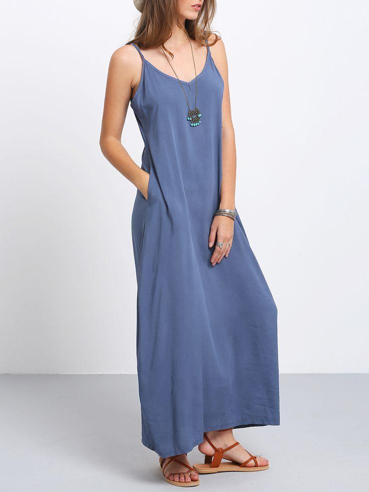 Тёмно-синее+макси+платье+на+бретельках+1577