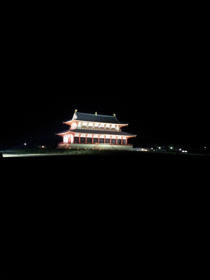 한 밤 중에 물어 물어 찾아갔던 헤이죠 궁 유적지.