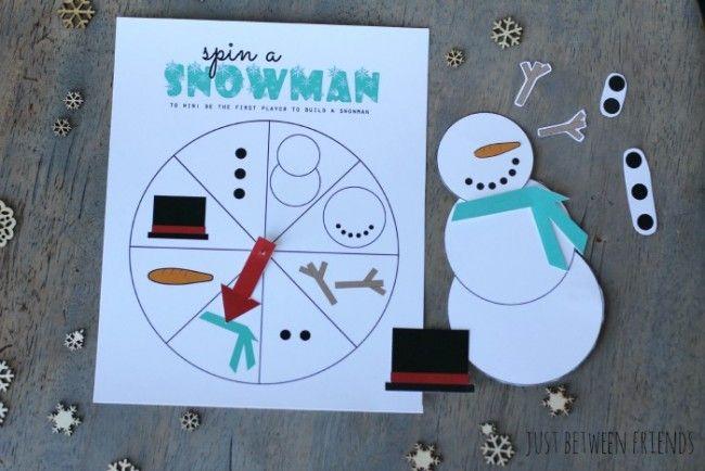 Printable Spin a Snowman Game