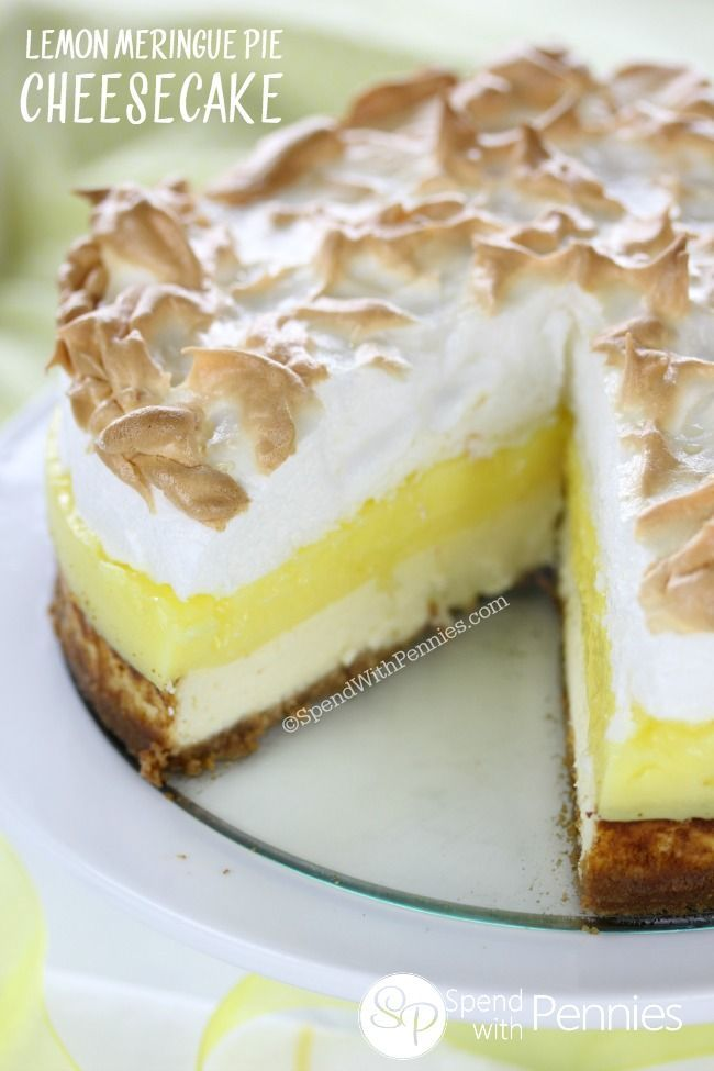 Lemon Meringue Pie Cheesecake - Spend With Pennies.  Use my cheesecake recipe and add lemon and meringue per instructions.