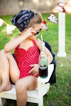 Red and white polka dot Retro one piece girls by RedDollyGirls, ok cutest little rockabilly girl | http://stuffedanimalsfamily.blogspot.com