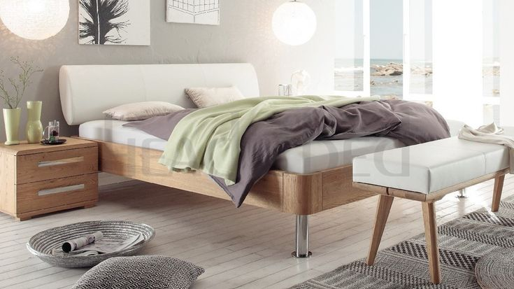Hasena Grono Chrome Elipsa - Solid Oak Real Leather Modern Bed
