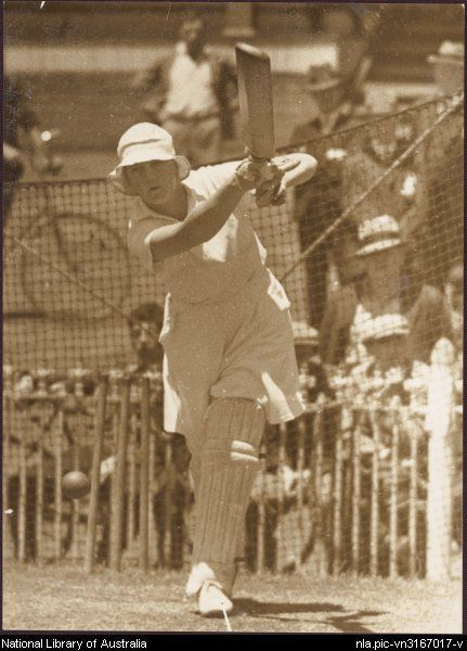 Betty Archdale (1907-2000), English women's cricket player at batting practice in the nets, in Sydney in 1935. She later moved to Australia and became headmistress of the private girls school Abbotsleigh in Wahroonga, Sydney, NSW, and was a champion of educational reform. In 1997, she was listed as an Australian Living Treasure.
