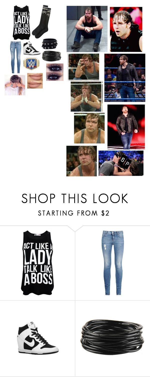 """Paige: Dean Finds Out You Kissed Sami Zayn"" by pie221153 ❤ liked on Polyvore featuring STELLA McCARTNEY, NIKE, Forever 21, Valentino and WWE"