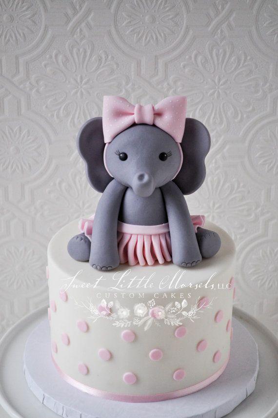 The Original Baby Girl Elephant Cake Topper by SweetLittleMorsels