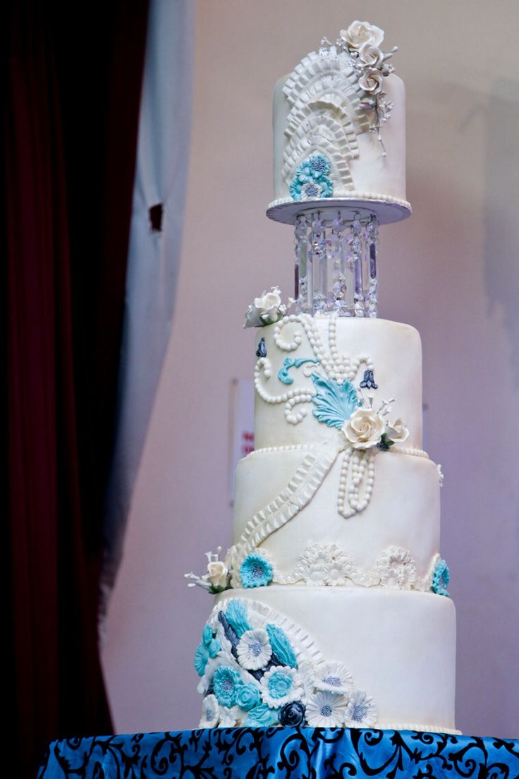 Turquoise and crystal cake