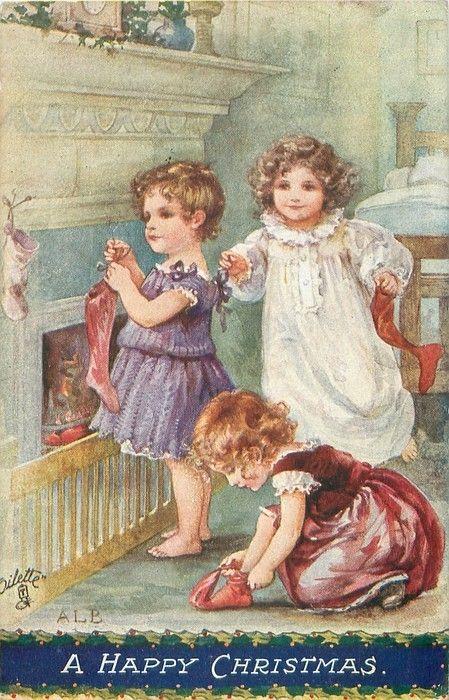 A Happy Christmas...Illustration et carte de A.L.Bowley