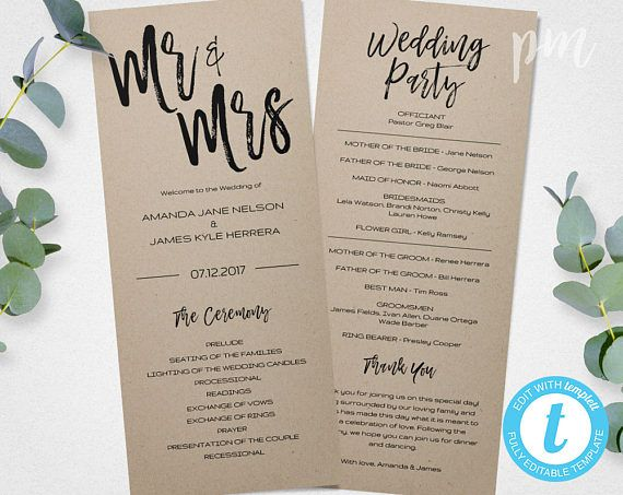 11 best Wedding Program Templates images on Pinterest Wedding - wedding program template