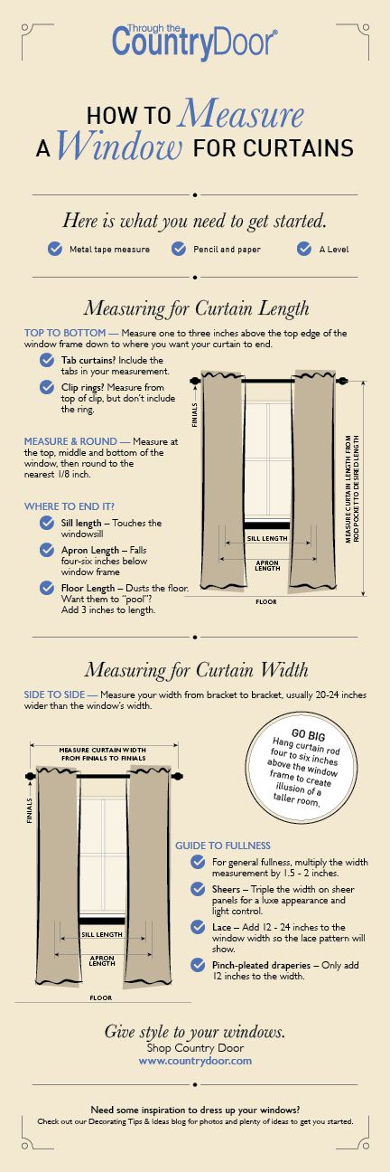 Infograph: How to Measure a Window for Curtains    Your Guide for Curtains and Window Treatments Measuring for your own curtains or drapes is not hard, but it isn't quite that easy either. It can depend on the type of rod, the type of hardware used to attach the curtains to the rod, and whether the curtains will be opened and closed. When you measure correctly, you will have exactly the curtains or drapes that you desire. Need some inspiration? Check out our blog for decorating tips and…