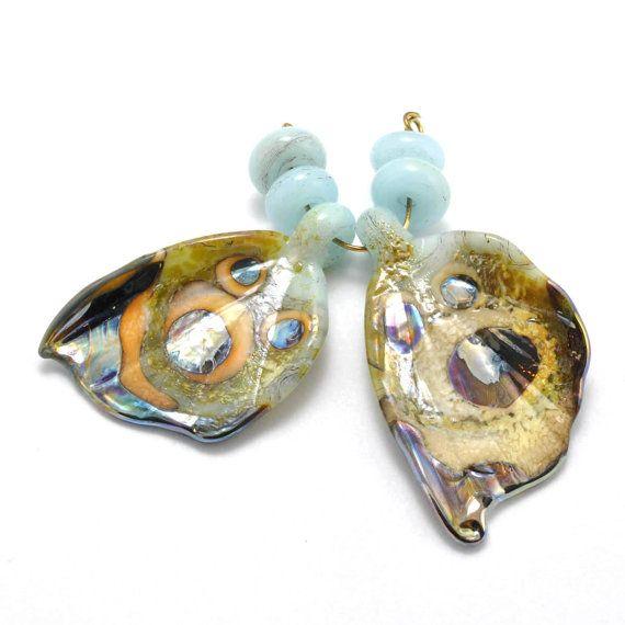 opal blue moth wings handmade glass beads by mandrel2 on etsy