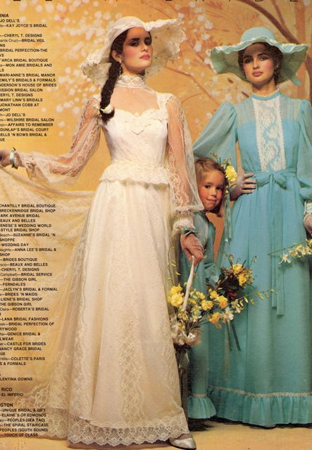 1970s wedding dress and bridesmaid dress in vintage catalog.