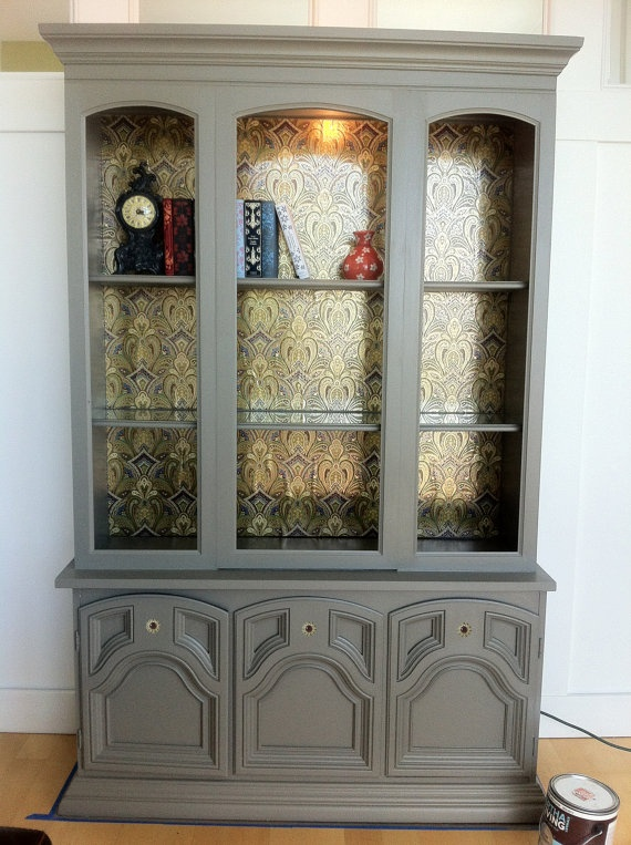 Modern Vintage Upcycled Hutch with Light - Love the color and wallpaper backing.