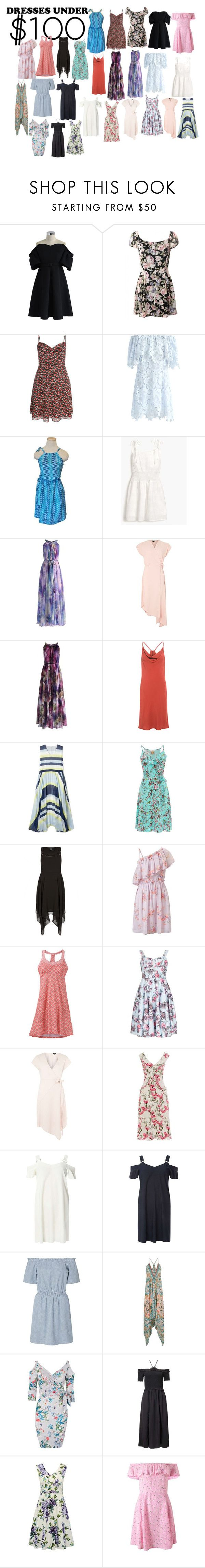 """""""Summer Dresses <$100"""" by starzyluv ❤ liked on Polyvore featuring Chicwish, J.Crew, Topshop, C/MEO COLLECTIVE, Dash, Royal Worcester, City Chic, Miss Selfridge, prAna and Izabel London"""