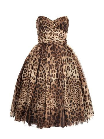 Strapless Leopard-print Dress. I normally don't like leopard print things, but for some reason I'm really digging this! Wonder what it would look like with a hot pink cardigan...