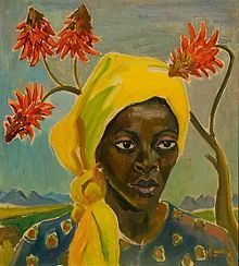 Maggie Laubser - Annie of the Royal Bafokeng, 1945, oil on canvas-board, 500 x 450 mm