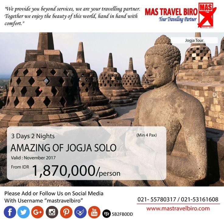 Mas Travel Biro punya promo Amazing Of Jogja Solo. 3 Hari 2 Malam dengan harga Rp 1.870.000 (Min 4 pax)  Untuk pertanyaan informasi tour,harga tiket pesawat, booking hotel tiket kereta api Add WA : 081298856950 Phone : 021 55780317 Email : tourhotel.metos@mastravelbiro.com  Beli tiket pesawat & KAI, booking hotel dan beli paket tour diMas Travel Biro ajaa.  #mastravelbiro #promotravel #travelagent #tourtravel