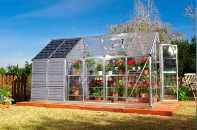 The new Grow & Store combines two essential components for any home gardener—a greenhouse for your plants and a storage shed for all of your gardening gear! This space-saving design is great for smaller yards or limited gardening space. The 6' x 8' greenhouse features clear- as- glass, virtually unbreakable, SnapGlas™ polycarbonate side and roof panels. The colored polycarbonate panels of the 6' x 4' storage shed keep the sun out and your tools neatly hidden away. Two structures/one great…
