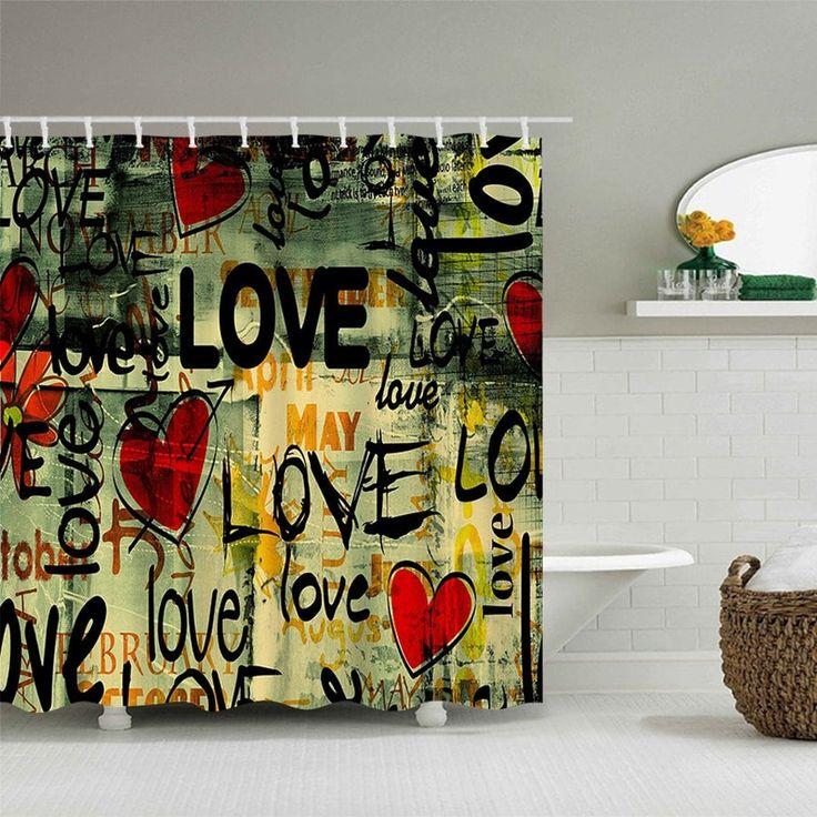 Love Hearts Graffiti Print Waterproof Polyester Bath Curtain - COLORMIX W71 INCH * L79 INCH