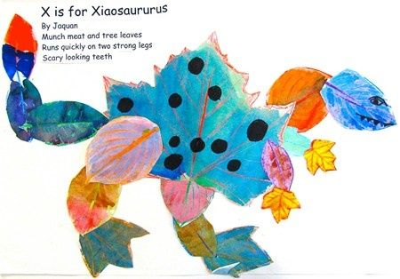 imaginary animals created cutouts leaf rubbings topped off