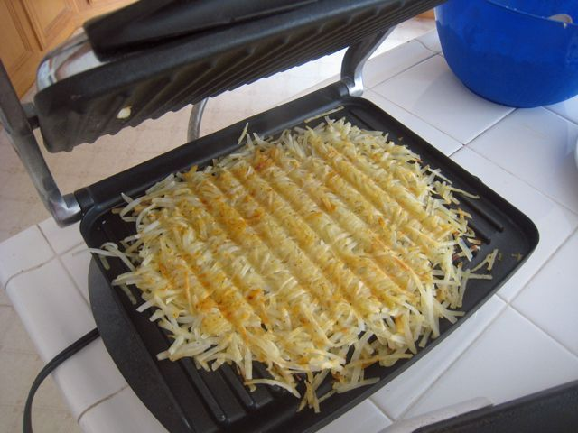 A full breakfast is a weekend treat. Use these tips for saving time and having it all hot at the same time. Cook hashbrowns quickly in a Panini press.