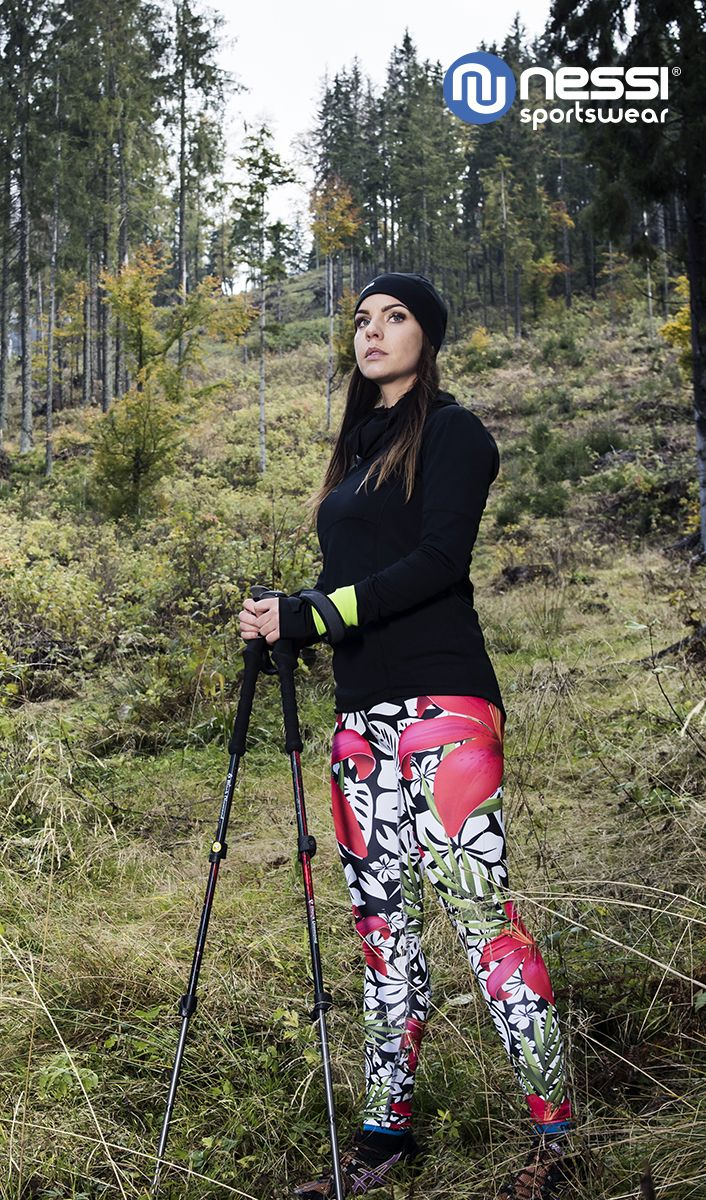 Long leggings with high belt  Nessi Red Flowers 3D, Sweatshirt with funnel neck PRO, Hat PRO Warm. Running, Nordic walking, fashion, styling