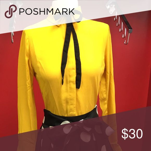 Yellow Shirt with black tie. Yellow button down shirt with black tie. Tops Blouses
