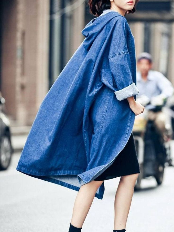 Casual Batwing Sleeve Hooded Trench Coats For Women #RaincoatsForWomenBlue