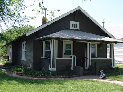 Our House Dark Gray And White Trim Turquoise Door And