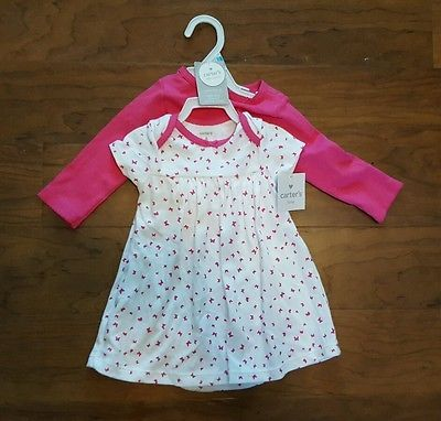 New Carter's Baby Girl 2 Piece Little Layette Dress & Cardigan Set Size 6M Pink
