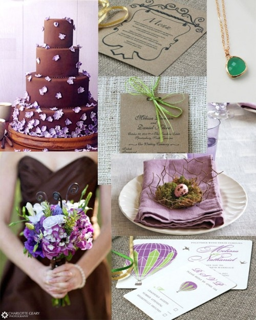 Brown Purple And Green Wedding Colors