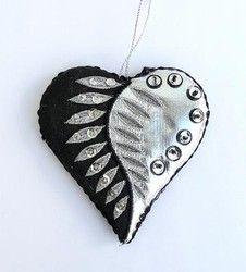 NZ Silver Fern Heart Christmas Decoration - silver, fern, new, pretty, nz, heart, christmas, ... - Shopenzed.com