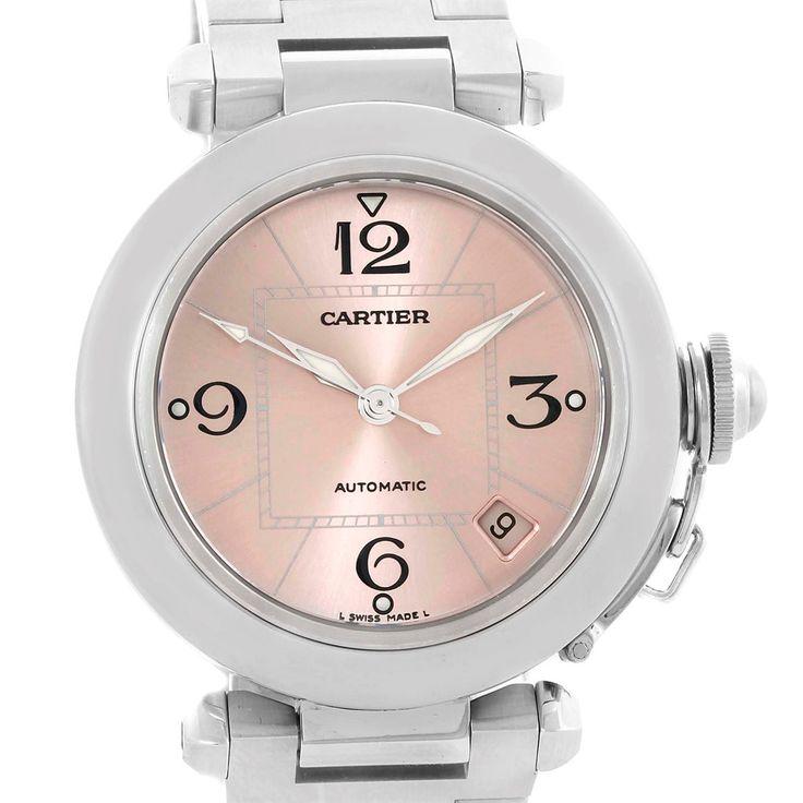 Cartier Pasha C Steel Pink Dial Medium Ladies Watch W31075M7