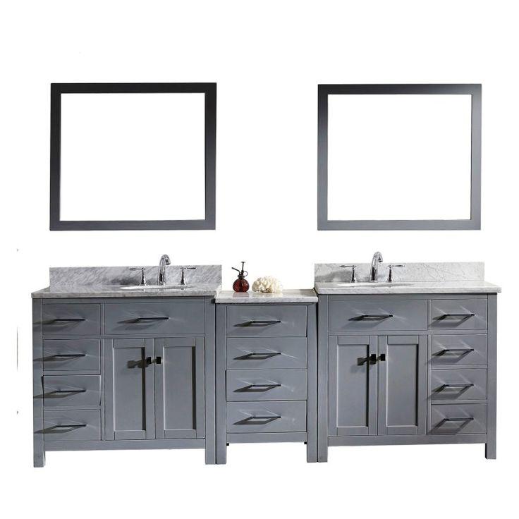 Virtu USA Caroline Parkway 93-in. Double Bathroom Vanity with Round Sink - MD-2193-WMRO-GR-001