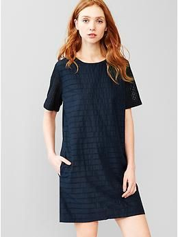 Eyelet-stripe shift dress | Gap