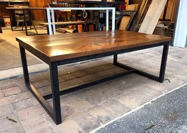 Industrial Coffee Table Welded Steel Frame With Red Oak Top